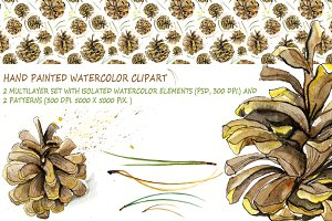 Watercolor pine cones kit