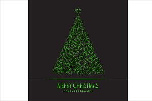 Merry Christmas green tree neon