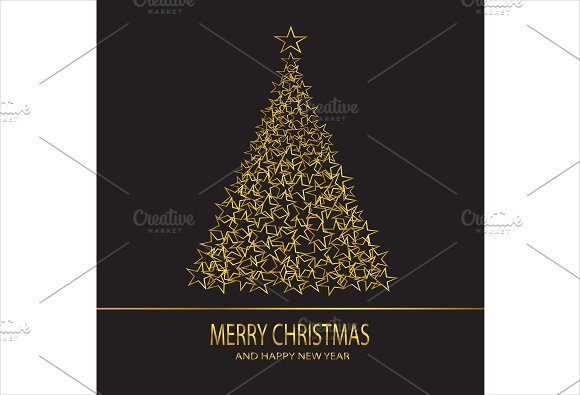 Merry Christmas background gold star
