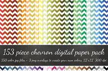 153 Piece White Chevron Paper Pack