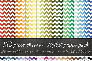 153 Piece White Chevron Paper Pack