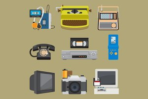 Retro gadgets icons