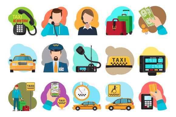 Taxi cartoon icons in Icons