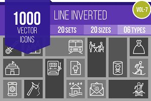 1000 Line Inverted Icons (V7)