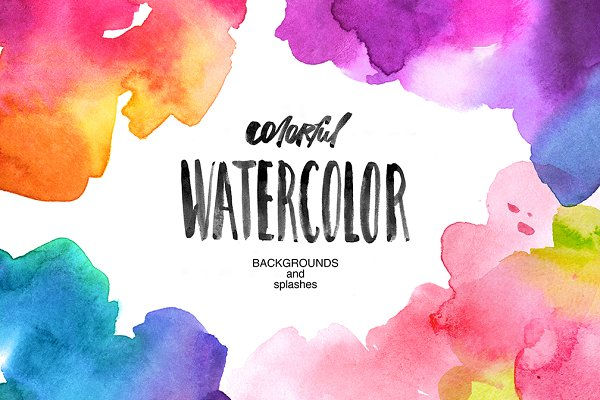 Watercolor backgrounds and splashes
