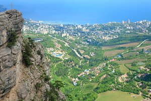Summer top view of Yalta city.