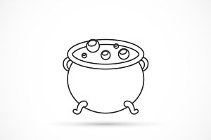 Witch cauldron outline icon
