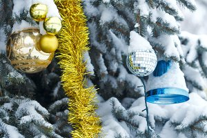 Balls, tinsel and Christmas bell
