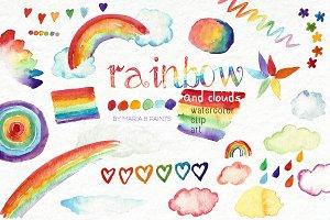 Watercolor Clip Art - Rainbow, Cloud