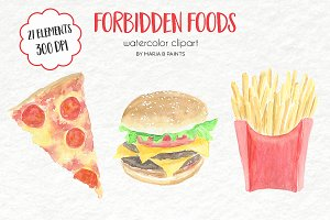 Watercolor Clip Art - Junk Food