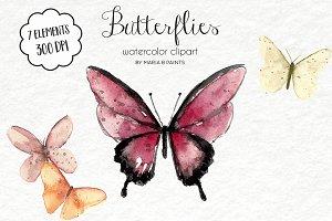 Watercolor Clip Art - Butterflies
