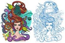 Tattoo sketch. Girl and sea