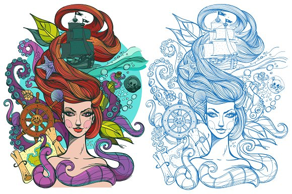 Tattoo sketch. Girl and sea - Illustrations
