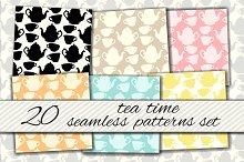 Teatime seamless patterns set