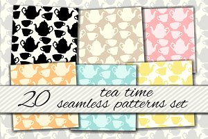 Teatime seamless patterns set