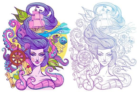 Tattoo sketch. Marine belle - Illustrations