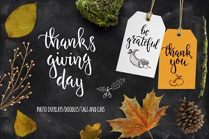 Thanksgiving overlays, cards, doodle
