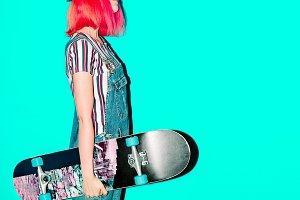 girl with skateboard Fancy pink