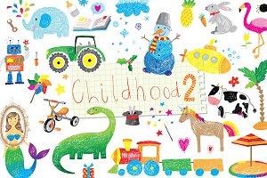 Vector childhood doodle set 2