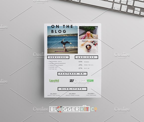 blog media kit template two pages stationery templates