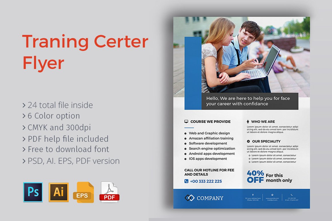 Training center flyer flyer templates creative market for Brochure design for training institute