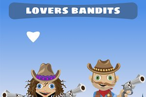 Lovers bandits in Wild West