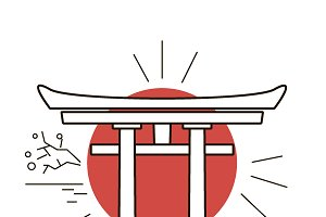 Vector Japanese arch