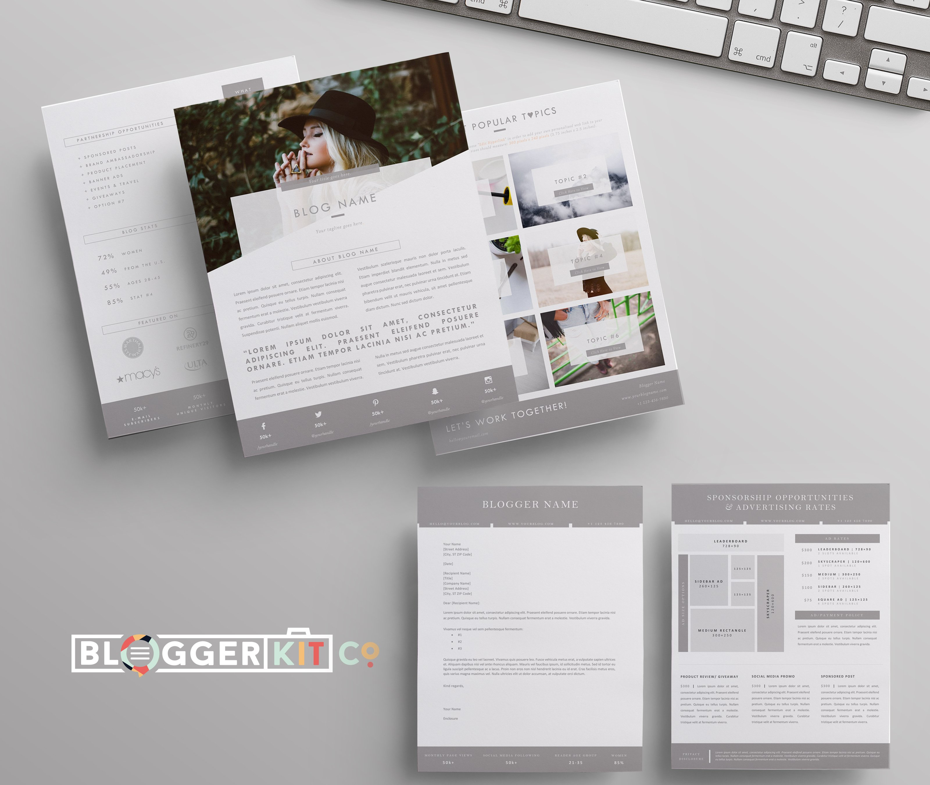 Blog media kit sponsorship 5 pgs resume templates for Press packet template
