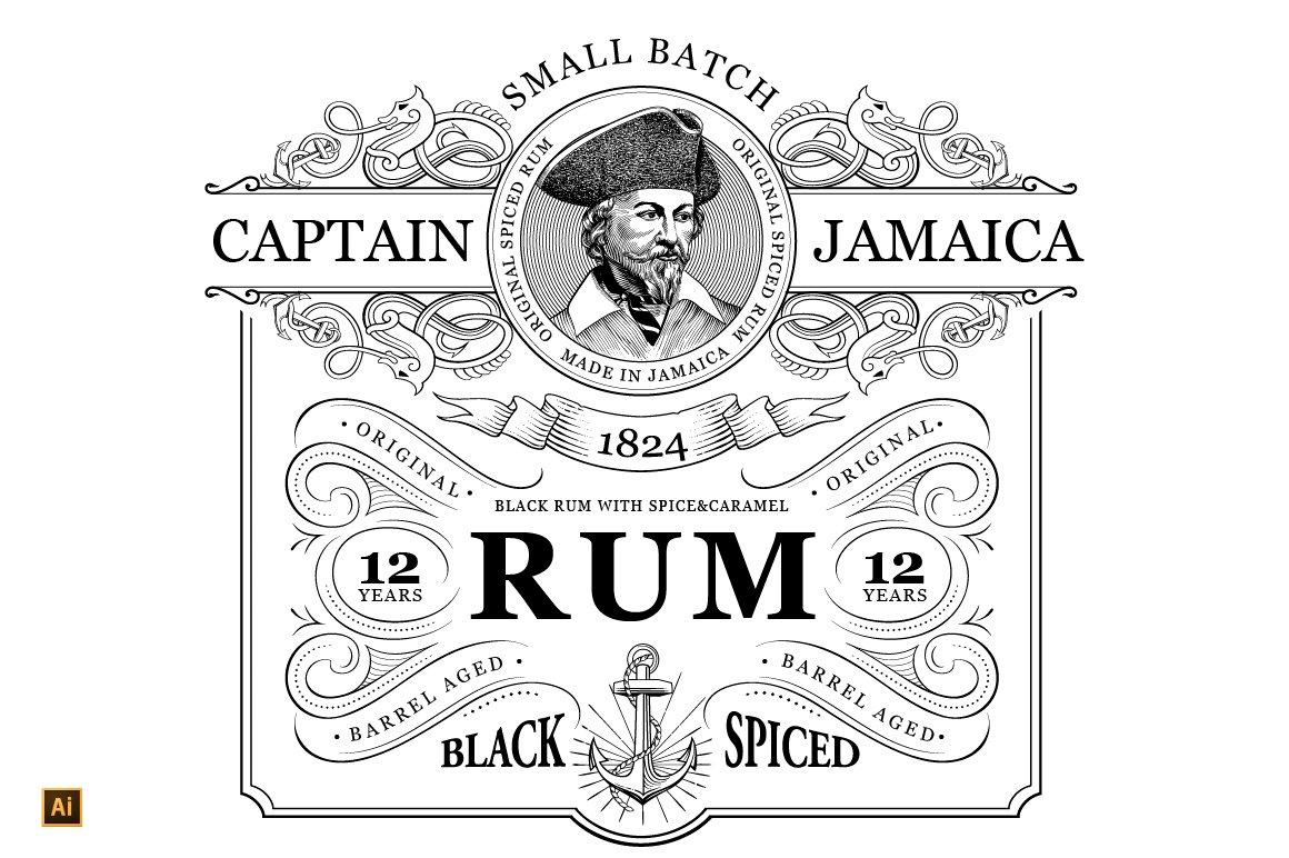 Rum Label Vintage Logo ~ Logo Templates ~ Creative Market