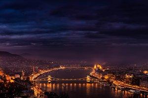 Budapest night view panorama