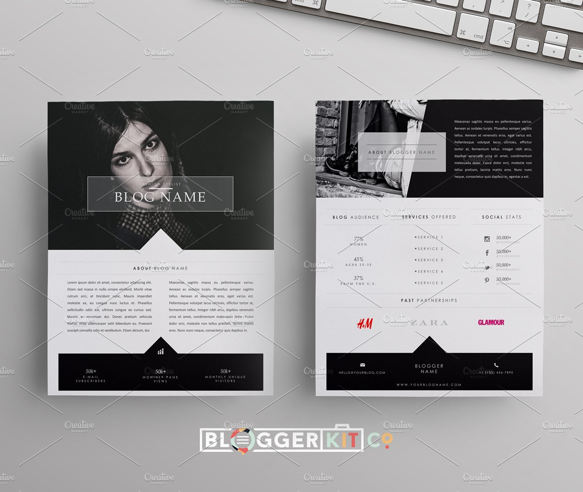 Blog media kit template two pages stationery templates blog media kit template two pages stationery templates creative market pronofoot35fo Image collections