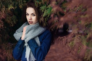 beautiful brunette with a scarf