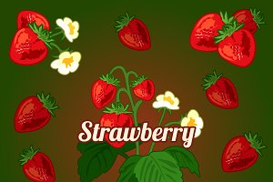 Bright card with strawberries