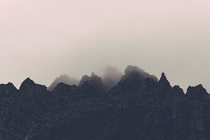 Mountain Peaks in the Fog