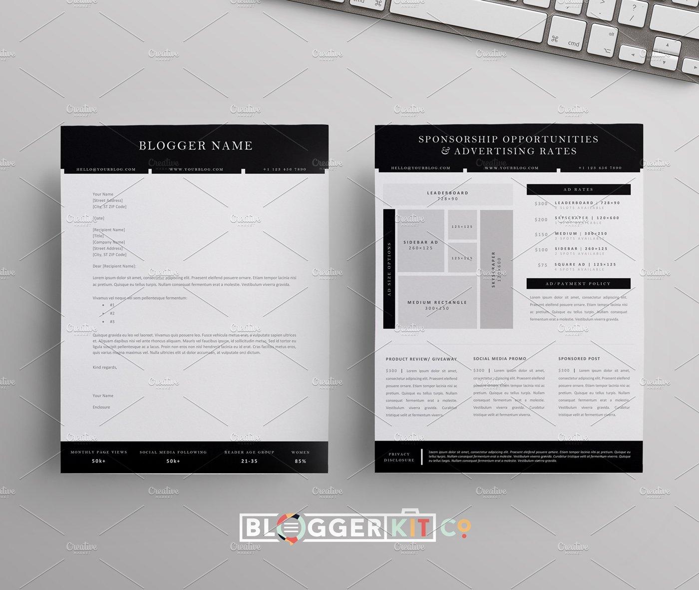 Blog sponsorship letter ad sheet resume templates creative market spiritdancerdesigns Images