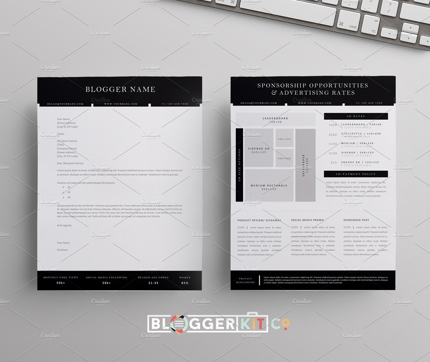 blog sponsorship letter ad sheet resume templates creative market