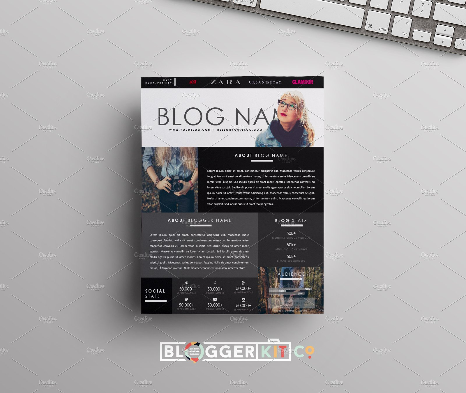 blog media kit template one page stationery templates creative