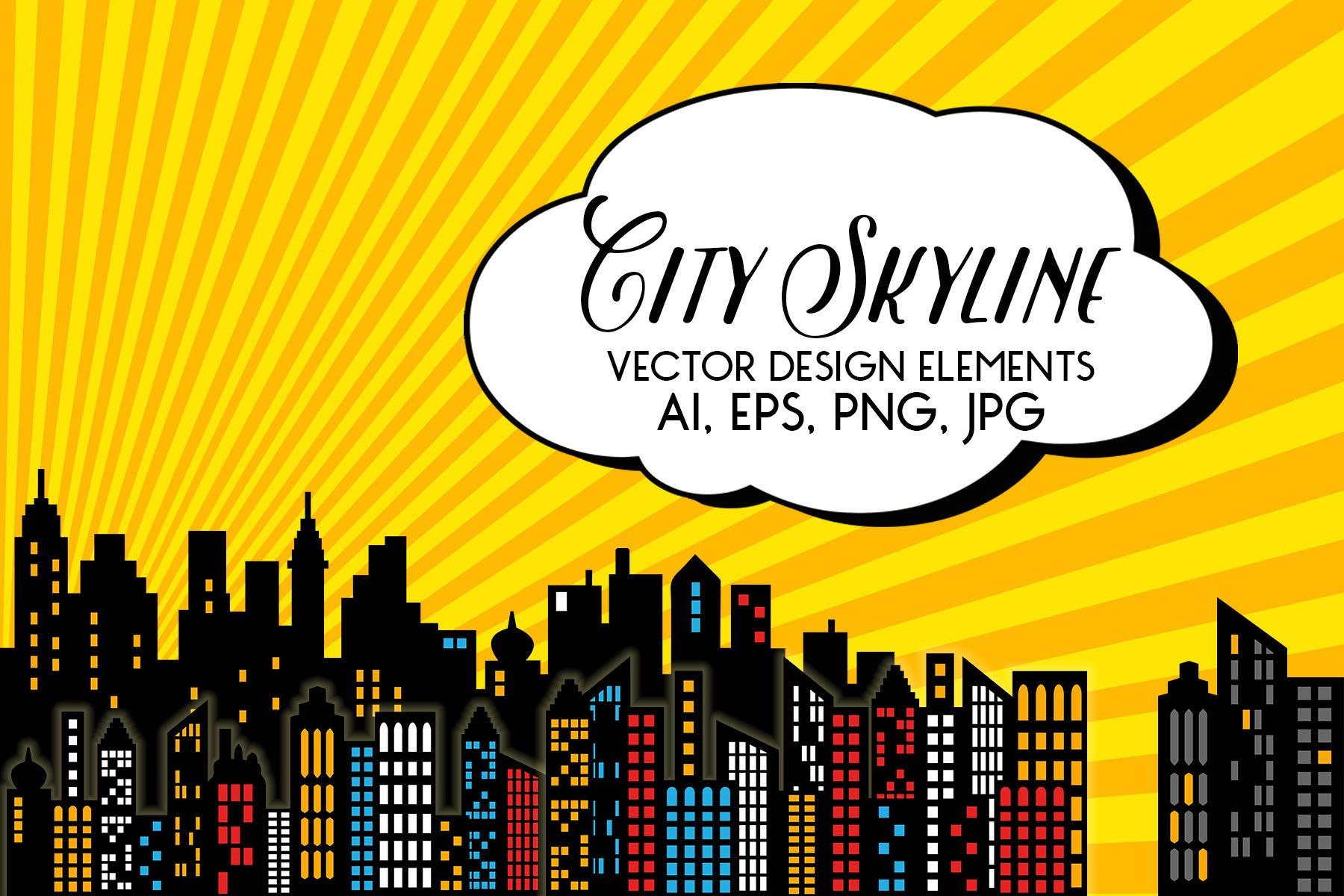 Superhero - City Skyline Vectors ~ Illustrations ...