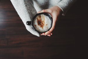 Woman hands and coffee.