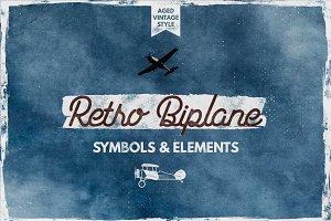 Retro Biplane Symbols & Elements