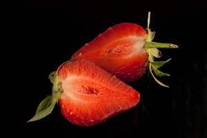 Fresh strawberry on black background