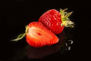 Strawberry and waterdrops