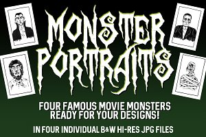 Famous Movie Monster Portraits