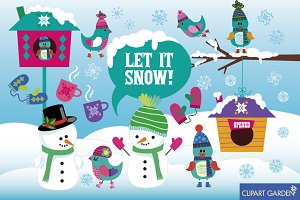 Winter (Let it snow) digital clipart