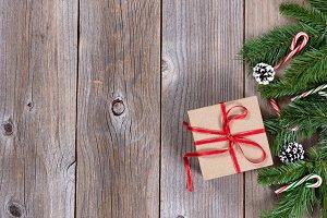Fir and Gift box border on wood