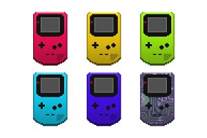 Six Pixel Art Gameboy Color Icons