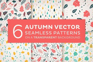 6 Autumn vector seamless patterns