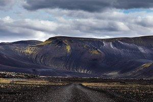 Black Iceland sand road