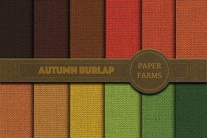 Fall burlap digital paper pack
