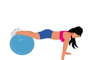 fitness, push ups, stability ball